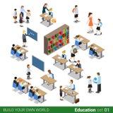 Isometric flat 3d school building teacher vector i. Isometric flat 3d school building block. Pupil children student teacher people desk library class icon set vector illustration