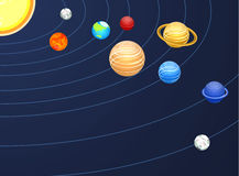 Isometric flat 3D  solar system showing planets around sun Royalty Free Stock Photo