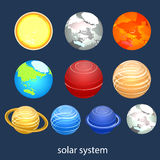 Isometric flat 3D  solar system showing planets around sun Stock Image