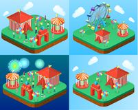 Isometric flat 3D vector city banners with carousels. amusement park. Isometric flat 3D isolated concept vector city banners with carousels. amusement park Stock Image