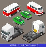 Isometric Flat 3d Vehicle Set at Car Park Stock Images