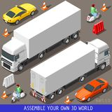 Isometric Flat 3d Vehicle Vespa Truck Set Stock Images