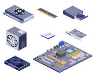 Isometric flat 3D   white computer Computer parts Royalty Free Stock Images