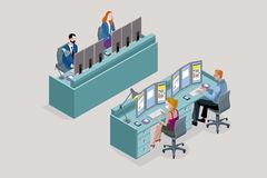Isometric flat desk for multiple workers. Two Isometric flat desk for multiple sitting workers. Each employee uses three monitors. Front and back view. Easy to royalty free illustration