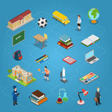 Isometric flat education icon line  Educatio Royalty Free Stock Photography