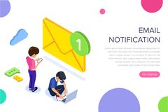 Isometric flat email notification concept. Email marketing at work. People received notification of a new letter on stock illustration