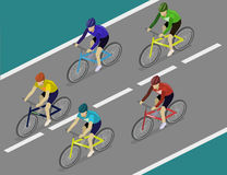Isometric flat group of cyclists man in road bicycle racing. Royalty Free Stock Photo