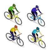 Isometric flat group of cyclists man in road bicycle racing. Royalty Free Stock Photography