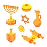Isometric flat hanukkah set, jewish holidays icons with menorah candles and happy hanukkah ribbon. Illustration of elements for royalty free illustration