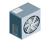 Isometric flat hardware power supply icon for repair service design. Royalty Free Stock Images