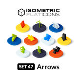 Isometric flat icons set 47. Isometric flat icons, 3D pictograms vector set 47 - Arrows symbol collection Royalty Free Stock Photos