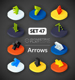 Isometric flat icons set 47. Isometric flat icons, 3D pictograms vector set 47 - Arrows symbol collection Stock Photos