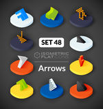 Isometric flat icons set 48. Isometric flat icons, 3D pictograms vector set 48 - Arrows symbol collection Stock Image