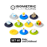 Isometric flat icons set 60. Isometric flat icons, 3D pictograms vector set 60 - Baby and childhood symbol collection royalty free illustration