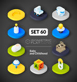 Isometric flat icons set 60. Isometric flat icons, 3D pictograms vector set 60 - Baby and childhood symbol collection stock illustration