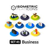 Isometric flat icons set 41 Royalty Free Stock Images