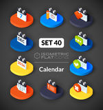 Isometric flat icons set 40 Royalty Free Stock Photography