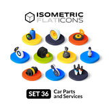 Isometric flat icons set 36. Isometric flat icons, 3D pictograms vector set 36 - Car parts and services symbol collection Stock Images