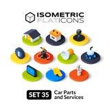Isometric flat icons set 35 Royalty Free Stock Image