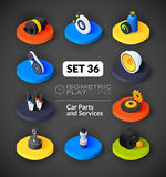 Isometric flat icons set 36. Isometric flat icons, 3D pictograms vector set 36 - Car parts and services symbol collection Royalty Free Stock Image