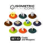 Isometric flat icons set 53. Isometric flat icons, 3D pictograms vector set 53 - Castle and weapons symbol collection Royalty Free Stock Images
