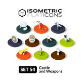 Isometric flat icons set 54. Isometric flat icons, 3D pictograms vector set 54 - Castle and weapons symbol collection Royalty Free Stock Photography