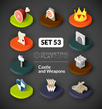 Isometric flat icons set 53. Isometric flat icons, 3D pictograms vector set 53 - Castle and weapons symbol collection stock illustration