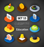 Isometric flat icons set 15. Isometric flat icons, 3D pictograms vector set 15 - Education symbol collection Royalty Free Stock Photography