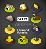 Isometric flat icons set 21 Royalty Free Stock Images