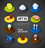 Isometric flat icons set 56. Isometric flat icons, 3D pictograms vector set 56 - Food and drink symbol collection Stock Photography