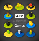 Isometric flat icons set 14 Royalty Free Stock Image