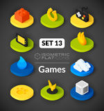 Isometric flat icons set 13 Royalty Free Stock Photo