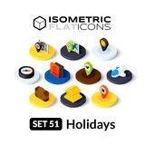 Isometric flat icons set 51. Isometric flat icons, 3D pictograms vector set 51 - Holidays symbol collection Royalty Free Stock Photography