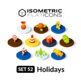 Isometric flat icons set 52 Royalty Free Stock Photography