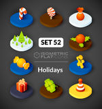 Isometric flat icons set 52 Stock Images