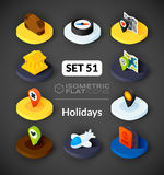 Isometric flat icons set 51. Isometric flat icons, 3D pictograms vector set 51 - Holidays symbol collection Stock Photography