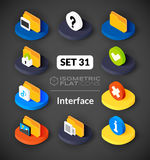 Isometric flat icons set 31. Isometric flat icons, 3D pictograms vector set 31 - Interface symbol collection Stock Photography