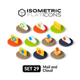 Isometric flat icons set 29. Isometric flat icons, 3D pictograms vector set 29 - Mail and cloud symbol collection Royalty Free Stock Photos
