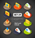 Isometric flat icons set 29. Isometric flat icons, 3D pictograms vector set 29 - Mail and cloud symbol collection Stock Images