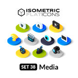 Isometric flat icons set 38. Isometric flat icons, 3D pictograms vector set 38 - Media symbol collection Stock Photo