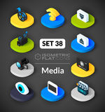 Isometric flat icons set 38. Isometric flat icons, 3D pictograms vector set 38 - Media symbol collection Royalty Free Stock Photography