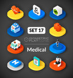 Isometric flat icons set 17. Isometric flat icons, 3D pictograms vector set 17 - Medical symbol collection Royalty Free Stock Photography