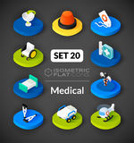 Isometric flat icons set 20. Isometric flat icons, 3D pictograms vector set 20 - Medical symbol collection Stock Images