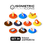 Isometric flat icons set 34. Isometric flat icons, 3D pictograms vector set 34 - Science and medicine symbol collection Stock Photo