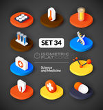 Isometric flat icons set 34. Isometric flat icons, 3D pictograms vector set 34 - Science and medicine symbol collection Royalty Free Stock Image