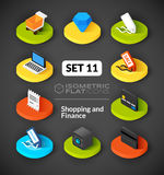 Isometric flat icons set 11. Isometric flat icons, 3D pictograms vector set 11 - Shopping and finance symbol collection vector illustration