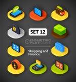 Isometric flat icons set 12 Stock Images