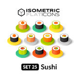 Isometric flat icons set 25. Isometric flat icons, 3D pictograms vector set 25 - Sushi symbol collection Royalty Free Stock Image