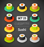 Isometric flat icons set 25. Isometric flat icons, 3D pictograms vector set 25 - Sushi symbol collection Royalty Free Stock Photos