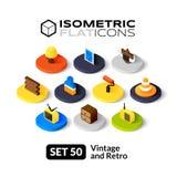 Isometric flat icons set 50 Stock Images
